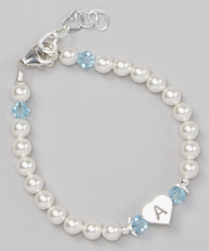 Baby Initial Bracelet with Swarovski White Pearls and Birthstone Crystals
