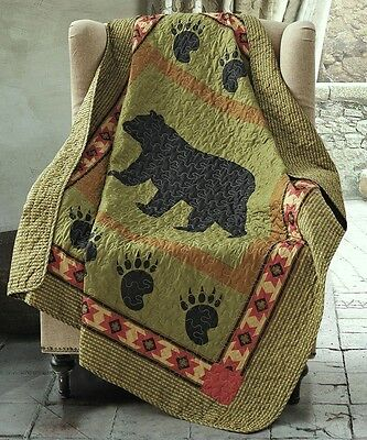 BLACK BEAR PAW 50x60 QUILT THROW : CABIN COUNTRY MOUNTAIN SOUTHWESTERN BLANKET Quilted Throw Blanket