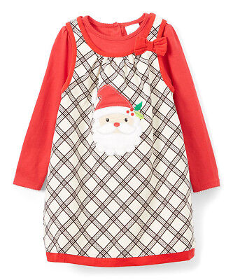 Santa Outfit For Girls (NWT Nannette Santa Baby Girls Plaid Jumper Dress Shirt Christmas Outfit)