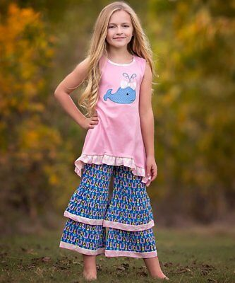 Girls ANN LOREN whale outfit 2T 3T NWT boutique dress t shirt ruffle pants tunic