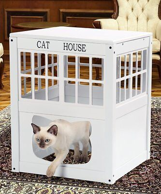 Cat House Side Table Nightstand Kitty Indoor Pet Crate Litter Box Enclosure New