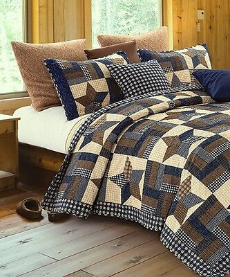 WOODLAND STAR ** King * QUILT SET : COUNTRY CABIN LODGE 5 POINT BLUE BROWN - Brown Cabin Quilt