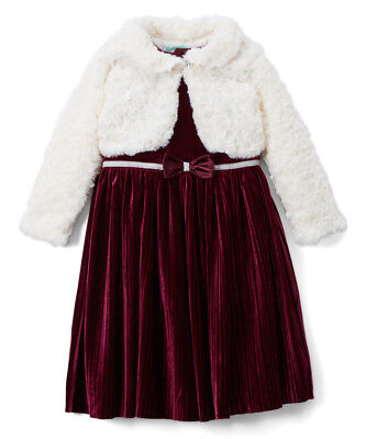 Girls NANNETTE burgundy Christmas dress 2T 3T 4T NWT velvet faux fur ivory shrug - Girls Velvet Shrug