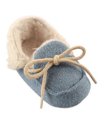 Boys LUVABLE FRIENDS moccasins 0-6-12-18 NWT blue faux suede fur shoes 1 2 3