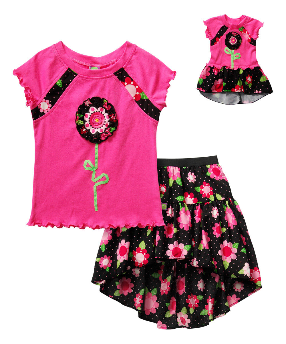 """Dollie Me Girl 4-14 And 18"""" Doll Matching Pink Flower Ski..."""