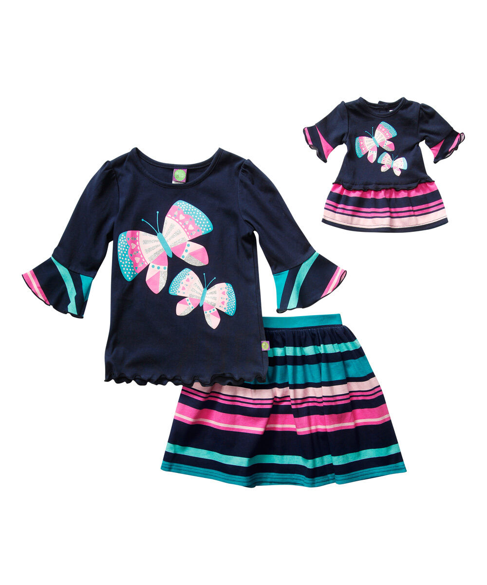 Dollie Me Girl 4-14 And Doll Matching Navy Teal Pink Skir...