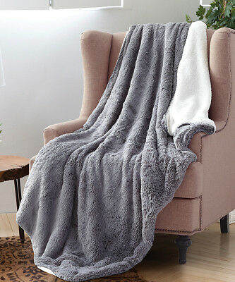 GRAY FAUX FUR THROW : 50 x 70 GREY SHERPA...