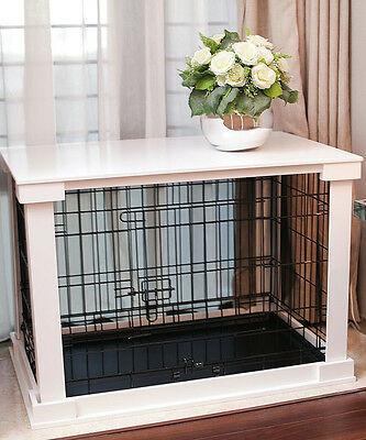 (Indoor Dog Crate Wood Pet Kennel Wooden Side End Table Wire Cage Cover White   )