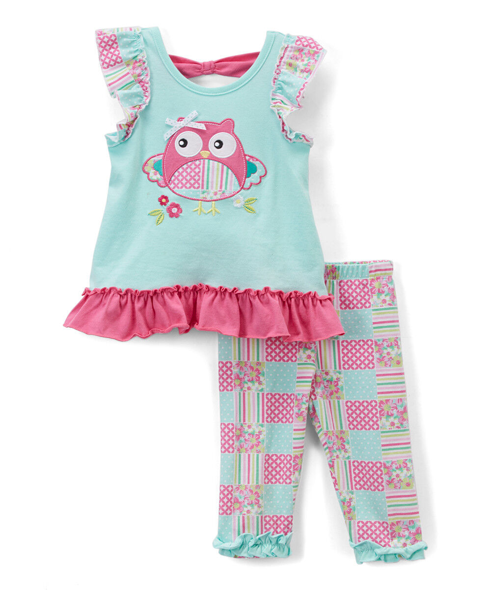 NWT Nannette Turquoise Owl Tunic & Leggings Girls Outfit Set