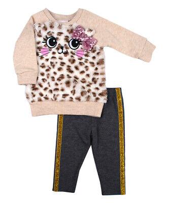 NWT Nannette Girls Leopard Kitty Cat Sweatshirt & Pants Outfit Set Kitty Cat Pant