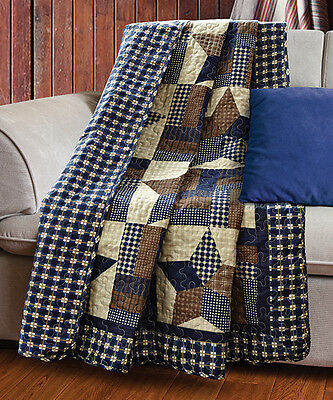 WOODLAND STAR 50x60 QUILT THROW : COUNTRY CABIN LODGE 5 POINT BLUE PLAID BLANKET ()