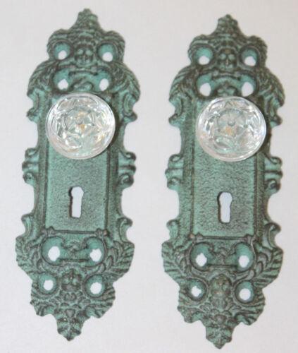 2 Cast Iron decorative door knob handle acrylic knob pull green antique patina