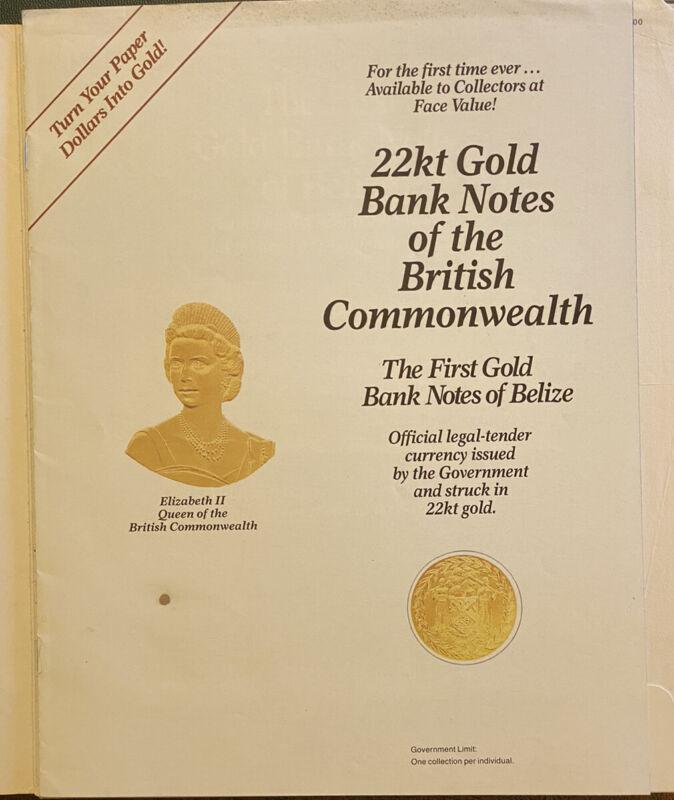 The First Gold 22kt Banknotes of Belize Set (29 Notes) Original Binder & COA