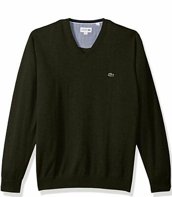 Lacoste Men's V Neck Cotton Jersey Sweater with Sherwood Green Croc Size XXL New