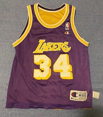 Vintage 90's NBA Champion Lakers Shaquille O' Neal Reversible Jersey Youth M
