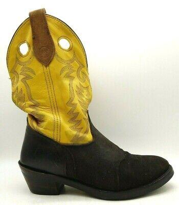 Double H Brown Black Leather Cowboy Western Work Boots Men's 13 D