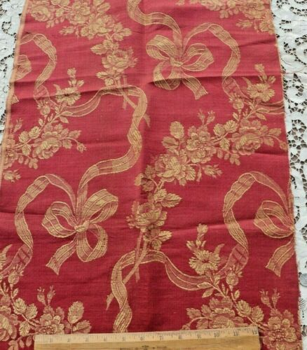 "Antique c1870 French Deep Brick/Cream Roses & Ribbons Jacquard Fabric~38""X18"""