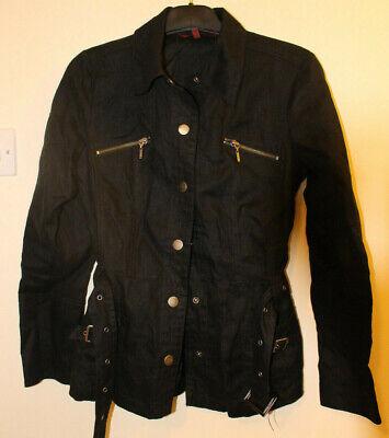 Ladies John By John Richmond Short Black Linen Belted Jacket UK 10