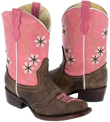 Kids Brown Leather Cowboy Boots Western Wear Pink Floral Pointed Toe Youth](Kids Western Wear)
