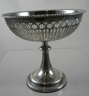 Vintage - SILVER Plated ~ Pierced PEDESTAL ~ Nut BOWL ~ c1960 by Keltum