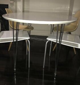 Cool white dining table (4) black chairs