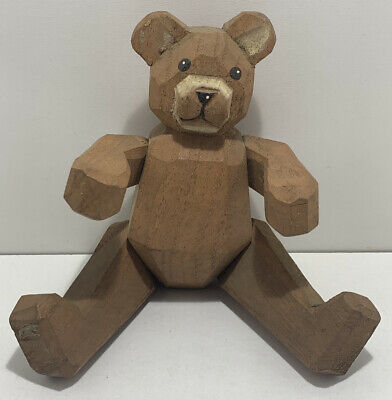 VINTAGE WOODEN CARVED JOINTED TEDDY BEAR -CHRISTMAS DECORATION