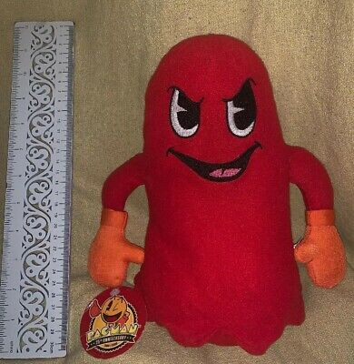 """Pac-Man 10"""" Plush Red Ghost Blinky Mrs Pac Man Toy Brand New With Tag"""