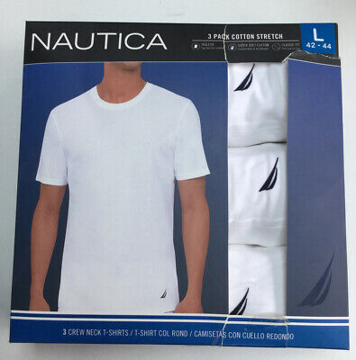 Mens nautica 3 Pack Cotton Crew Neck T Shirts New Large