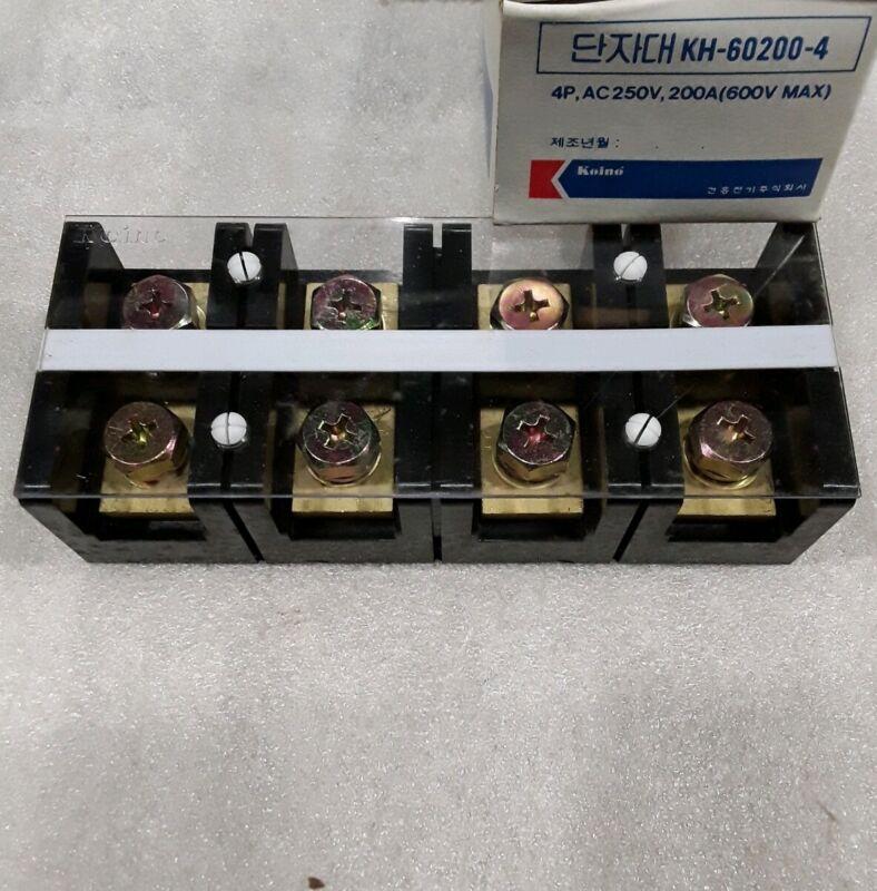 KH-60200-4 KOINO4P AC250 200A 600V MAX TERMINAL BLOCK NEW
