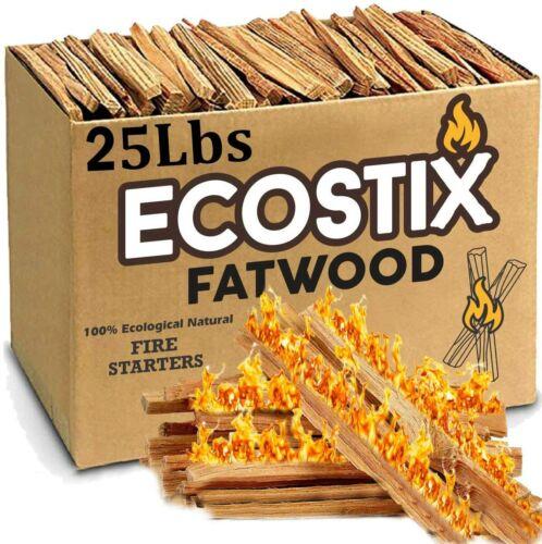 Fireplace Kindling Wood Sticks 25 Lb Box Fatwood Firestarter Tinder Long Lasting
