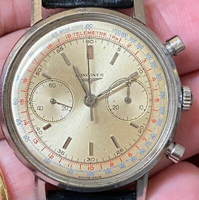 LONGINES CHRONOGRAPH 30CH FLYBACK STAINLESS STEEL VINTAGE 100% GENUINE 1950 38MM