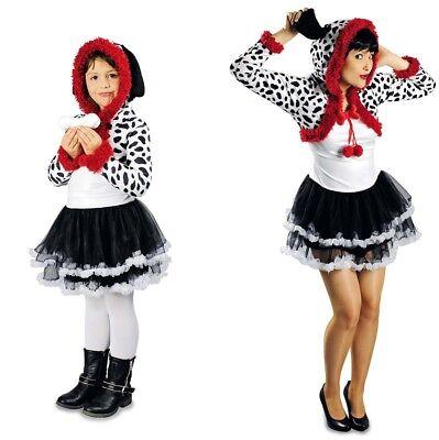 Dalmatiner Hund Kleid m. Kapuze Damen Mädchen Kostüm Tiere Fasching Karneval
