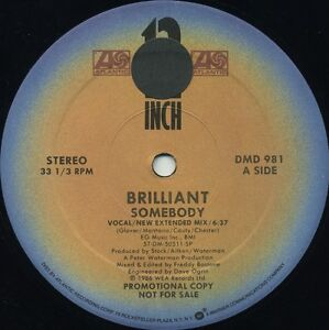 BRILLIANT-Somebody-New-Extended-Mix-1986-U-S-3-Track-Promo-12inch