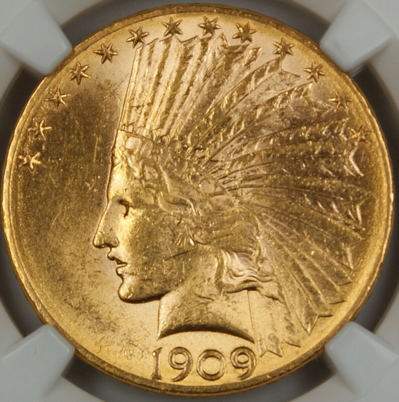 1909-D Indian $10 Eagle Gold Coin, NGC UNC Details (Improperly Cleaned) BU