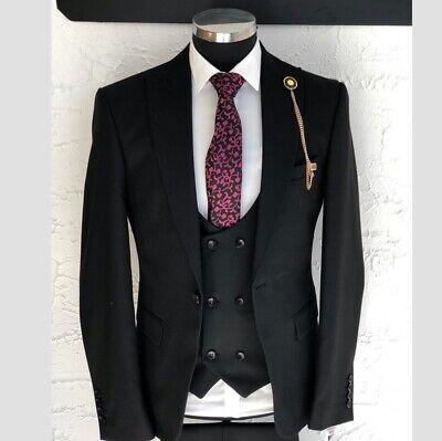 Herren Anzug Elegant 3-teilig Jacke Hose Weste Gr.46-56 Schwarz Sams Gentleman - Western Anzug Jacke