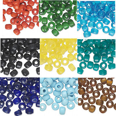100 Glass Crow Pony Beads 9 x 7MM With 3- 4mm Large (Glass Pony Beads)