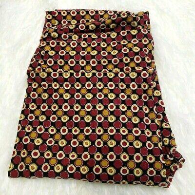 Dark Red Gold Circles Polka Dot Gemoetric Print Yoga Activ (Gold Polka Dot Leggings)