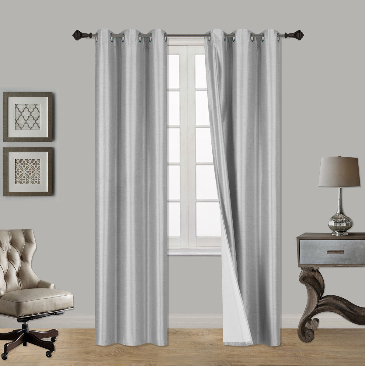 1 SET 100 THERMAL BLACK OUT WINDOW LINED CURTAIN PANEL DRAPE BRONZE GROMMET AAA