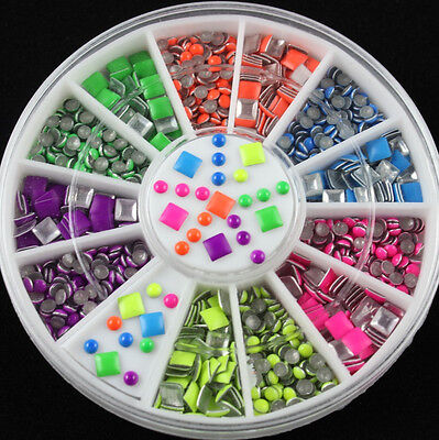 6 Colors Round& Square Neon Stud Rhinestone Nail Art DIY Decoration 2 Styles - Neon Colors Decorations
