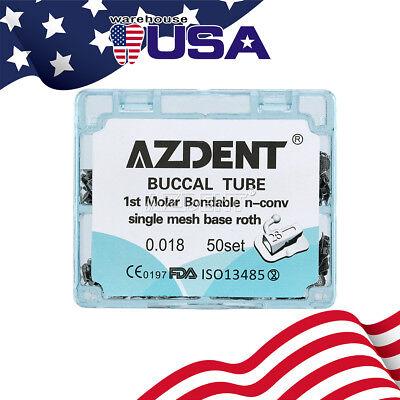 Azdent Orthodontic Buccal Tube Mesh Base Split 1st Molar Roth 018 Bondable