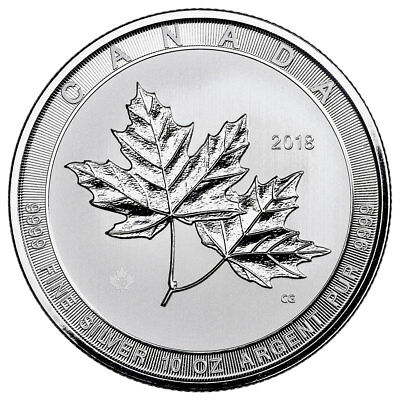 Daily Deal! 2018 Canada Magnificent Maple Leaves 10 oz. Silver $50 BU SKU53164