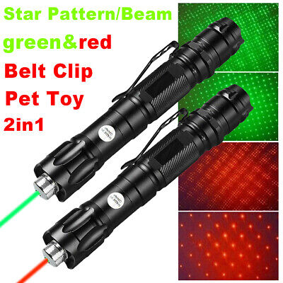 2pcs 900 Miles Star Green Red Visible Beam Laser Pointer Pen 1 Mw Bright Lazer