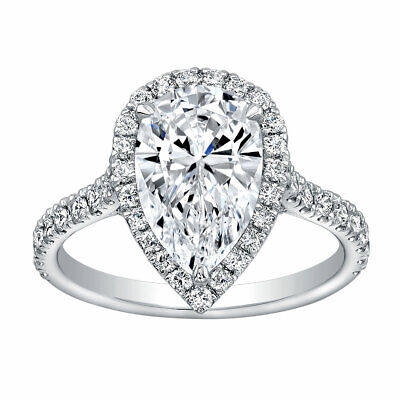 Gorgeous 2.00 ct. Pear Cut Diamond Halo Pave Engagement Ring GIA H, VS2 18k 2