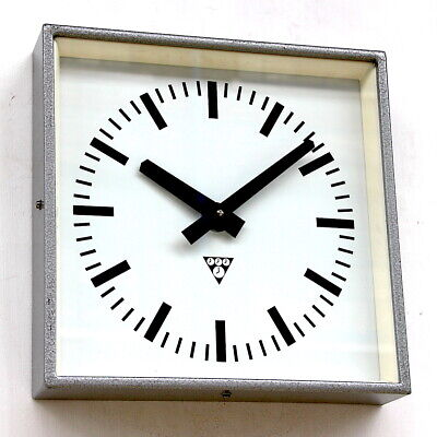 CZECH 1970s Vintage Wall Clock Eastern Bloc Midcentury Retro Industrial Factory