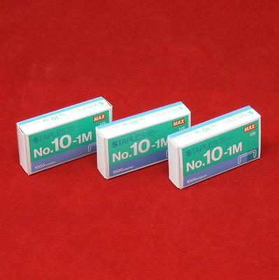 3 - 1000 Count Boxes Of Max No 10-1m Staples For Hd-10fl Mini Stapler