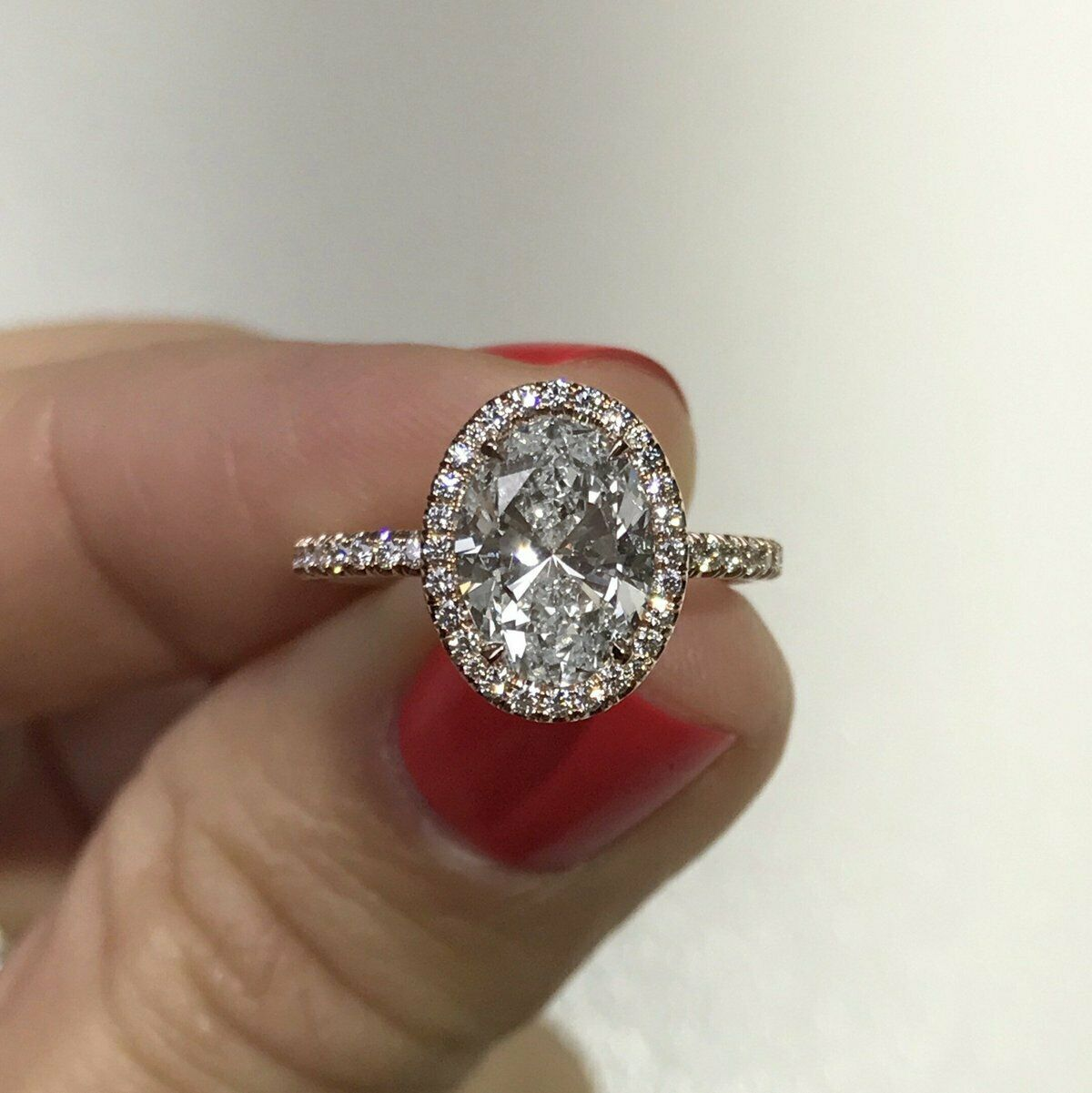 3.00 ct. Oval Cut Halo Diamond U-Pave Engagement Ring w/ Matching Band H,VS2 GIA