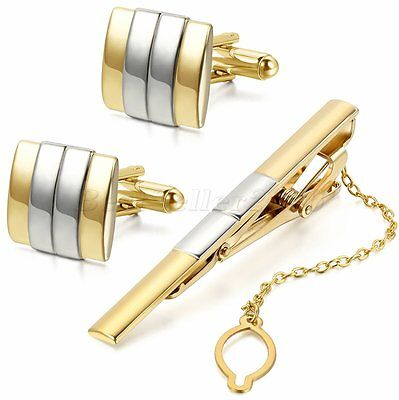 Men's Fashion Metal Silver Gold Tone Tie Bar Clasp Clip Matching Cufflinks Set
