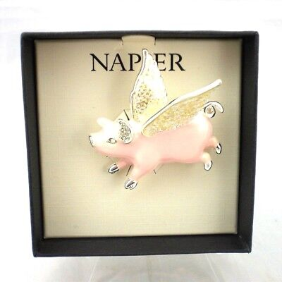 Napier Pink Flying Pig Pin Brooch Enamel Silver Tone Shimmering Wings w Gift Box
