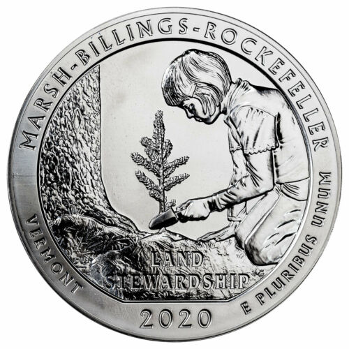 2020 Marsh Billings Rockefeller 5oz Silver ATB America the Beautiful Coin GEM BU