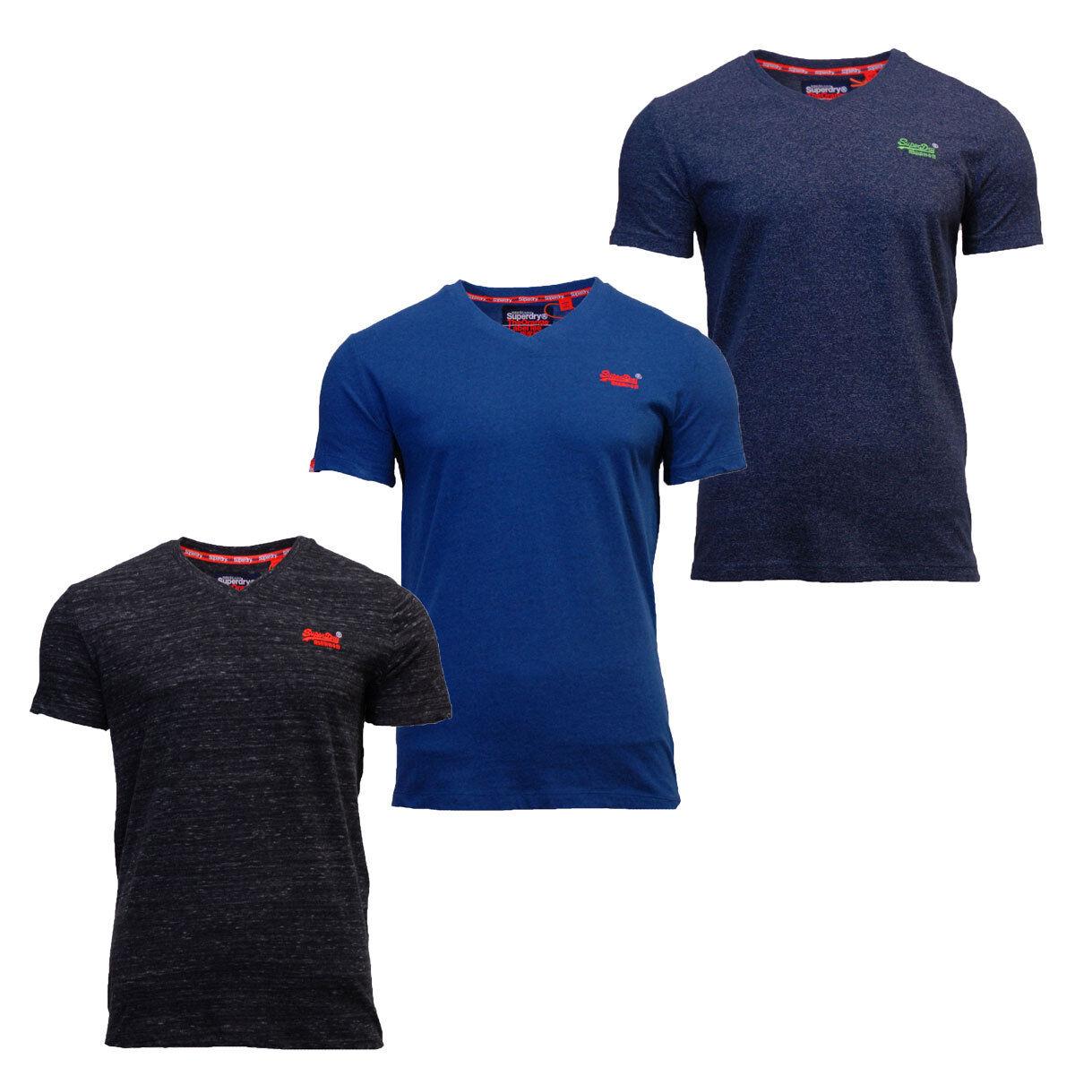 Superdry Mens New Orange Label V Neck Short Sleeve T Shirt Blue Black